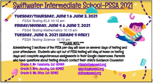 Updated PSSA Testing Dates